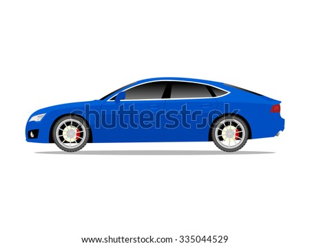 Vector image of a blue sports car - stock vector