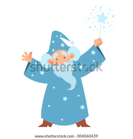 Vector image of a cartoon Wizard with his wand - stock vector