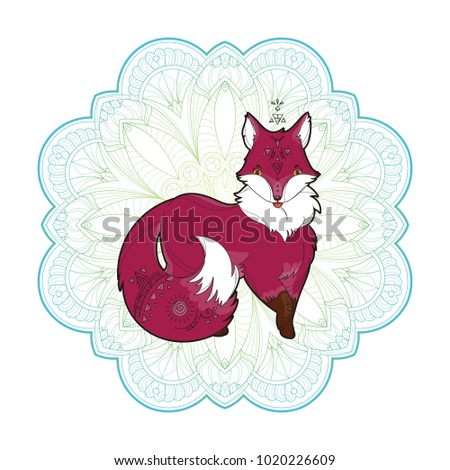 Vector image of a cute fox design isolated on a white background. Wild Animal with sacred geometry in mandala background