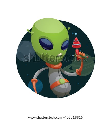 Vector image of a dark space round frame with planets, with cartoon image of funny green alien in gray-orange spacesuit with laser gun in hand in the center on a white background. Vector illustration. - stock vector