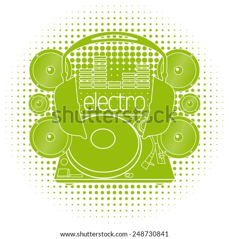 Vector image of a DJ console, headphones and speakers - stock vector