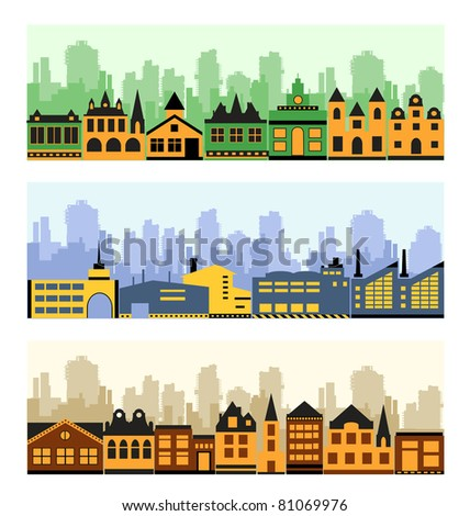 Vector image of a fragment of the city on a colored background - stock vector