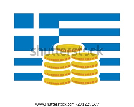 Vector image of a Greek flag and coins - stock vector