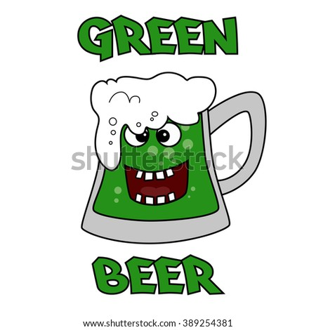 Vector image of a green beer mug in honor of St. Patrick's Day - stock vector