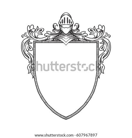 Vector Image Heraldic Shield Knights Helmet Stock Vector Royalty