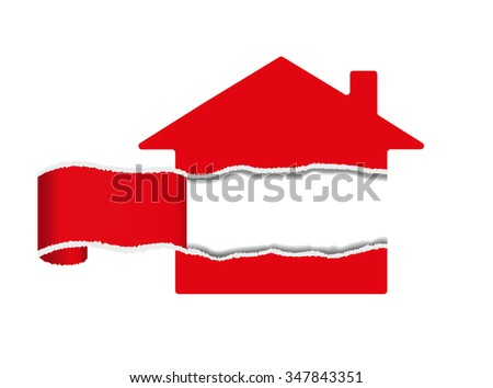 Vector image of a house, a torn middle piece with copy space - stock vector