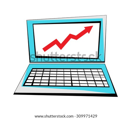 Vector image of a laptop with a rising arrow on the screen