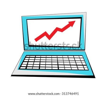 Vector image of a laptop with an upward arrow on the screen