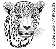 Vector image of a leopard executed in the form of a tattoo - stock photo
