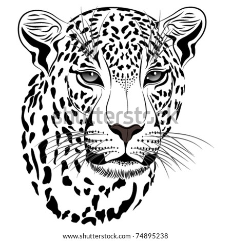 Vector image of a leopard executed in the form of a tattoo - stock vector