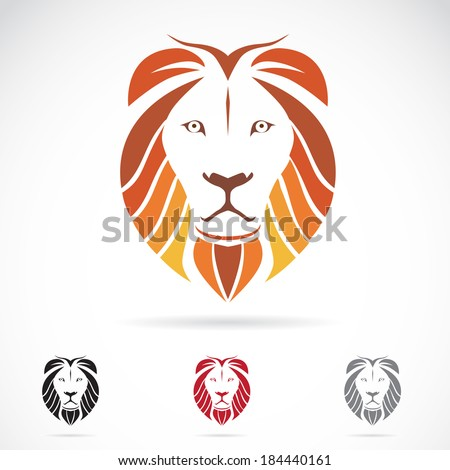 Vector image of a lion head on white background - stock vector