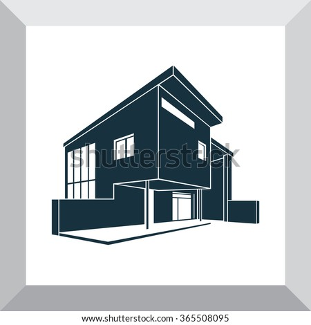 Modern house silhouette images for Modern house logo