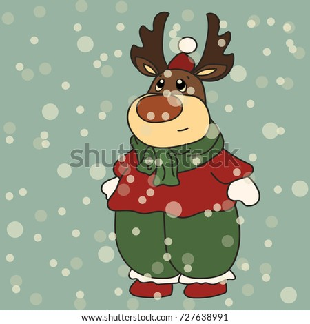 Vector image of a New Year's deer in Santa Claus's clothes. Merry Christmas and Happy New Year design in traditional style, greeting card. Rudolf in Santa's cap. Cute funny character for children.