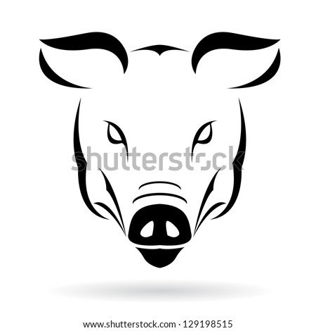Vector image of a pig on a white background - stock vector