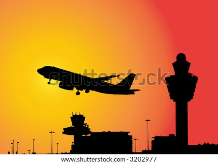 vector image of a plane flying above airport - stock vector