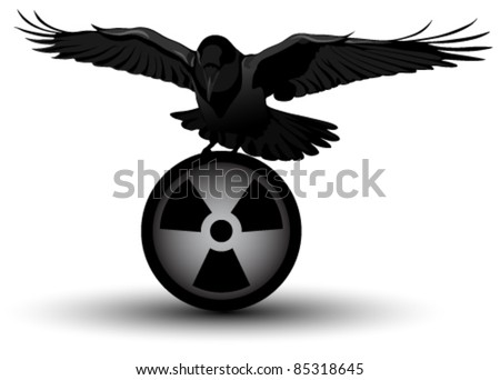 Vector image of a raven on radiation symbol - stock vector
