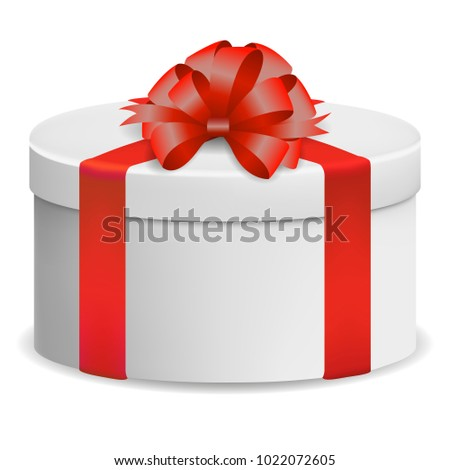 Vector image of a reelistic, white, round, closed box red ribbon ribbon with a bow on a white isolated background.