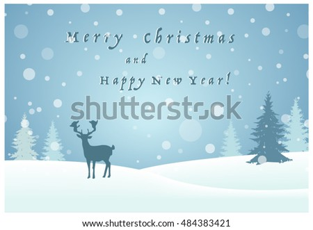 Vector image of a reindeer in the snow. Greeting Card.