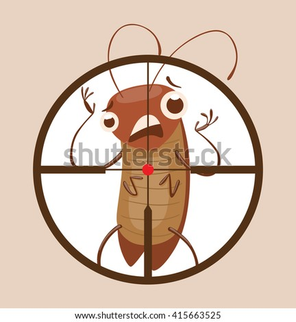 Vector image of a round black frame like under the gun with cartoon image of funny brown cockroach standing terrified in the center on gray background. Anthropomorphic cartoon cockroach. Pest control. - stock vector