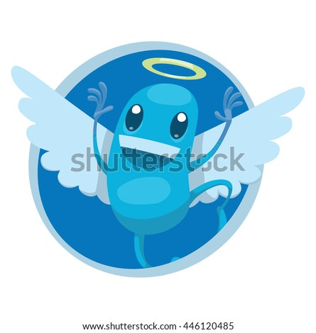 Vector image of a round blue frame with cartoon image of funny light blue angel with white wings and golden halo over his head jumping and smiling in the center on a white background. Positive.