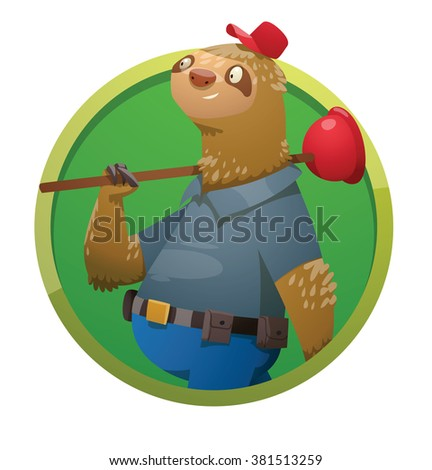 Vector image of a round green frame with cartoon image of a cute light brown sloth in blue trousers, shirt and red cap with a red tool-box and red plunger in his paws on a white background. Plumber.