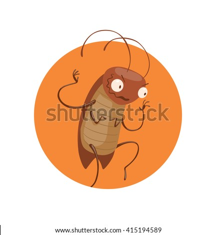 Vector image of a round orange frame with cartoon image of a funny brown cockroach with antennae and six legs sneaking somewhere in the center on a white background. Anthropomorphic cartoon cockroach. - stock vector