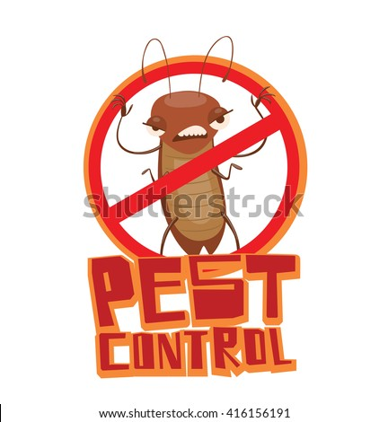 """Vector image of a round red crossed-out sign with cartoon image of a funny brown cockroach frightening someone in the center on a white background. Inscription """"Pest control"""". Vector illustration. - stock vector"""