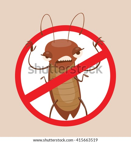 Vector image of a round red crossed-out sign with cartoon image of funny brown cockroach frightening someone in the center on a gray background. Anthropomorphic cartoon cockroach. Pest control.  - stock vector