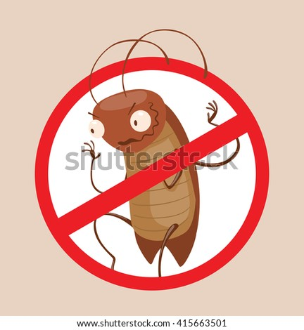 Vector image of a round red crossed-out sign with cartoon image of funny brown cockroach sneaking somewhere in the center on a gray background. Anthropomorphic cartoon cockroach. Pest control.  - stock vector