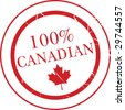 "Vector image of a rubber-stamp type emblem which reads ""100% Canadian"" - stock vector"