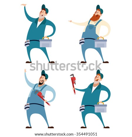 Vector image of a Set of Plumbers - stock vector