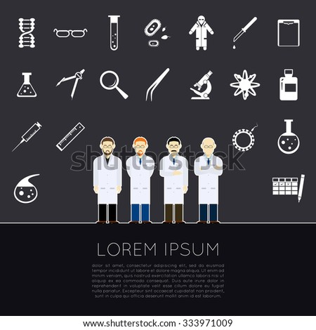 Vector image of a set of white sciense icons - stock vector