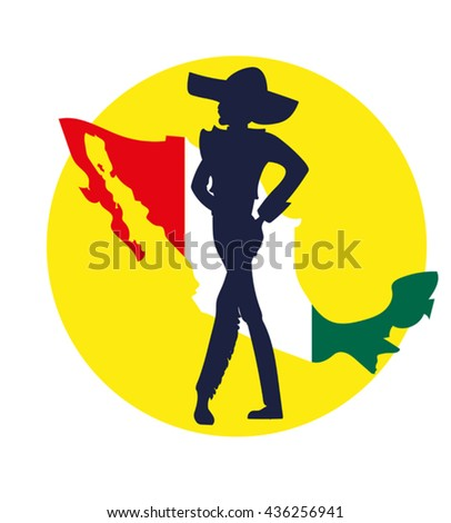 Vector image of a silhouette  dancer latin dance on a background map of Mexico - stock vector