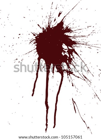 Vector image of a spot of paint on the vertical wall. Sprays and drops. - stock vector
