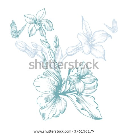 Vector image of a spring flower, 