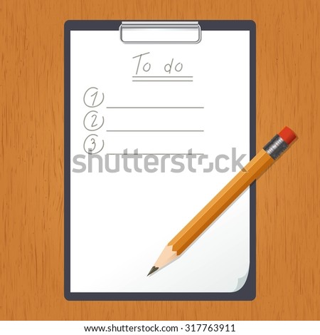 Vector image of a tablet with List of doing and the pencil