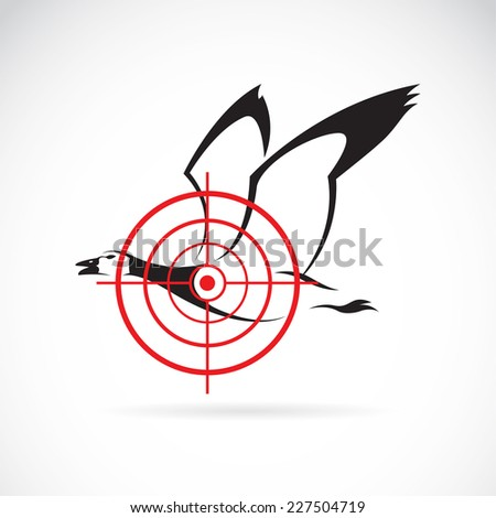 Vector image of a wild duck target on a white background. - stock vector