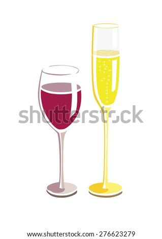Vector image of a wine and champagne glass