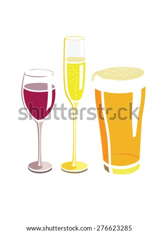 Vector image of a wine glass, beer glass and champagne glass - stock vector