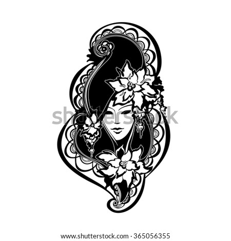 vector image of a woman's face with flowers, Venice Carnival masks