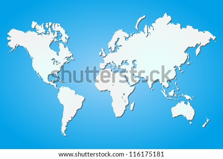 Vector image of a world map on a colorful blue background. - stock vector