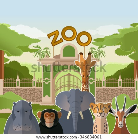 Vector image of a zoo gate with african flat animals - stock vector