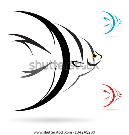 Vector image of an angel fish on white background - stock vector