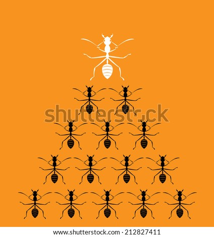 Vector image of an ants on orange background. Leadership concept  - stock vector