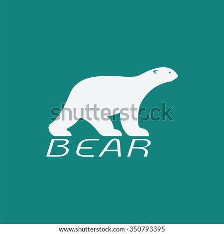 Vector image of an bear white design on blue background. Animals - stock vector