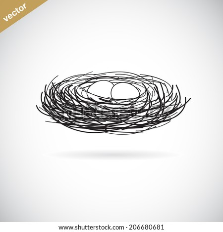 Vector image of an bird's nest on white background - stock vector