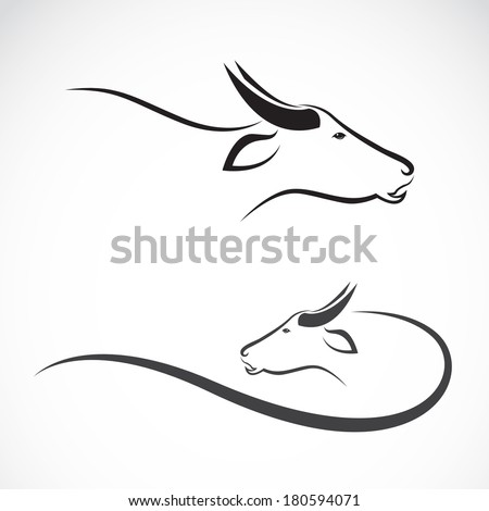 Vector image of an buffalo on white background. - stock vector