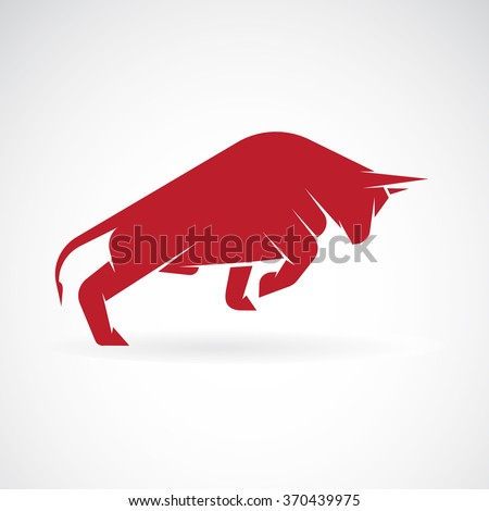 Vector image of an bull design on a white background - stock vector