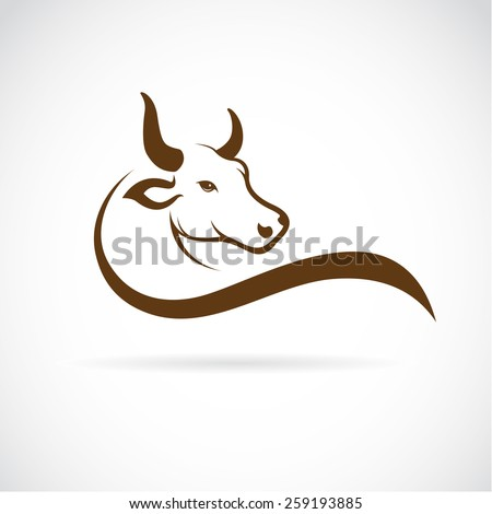 Vector image of an bull head on a white background - stock vector