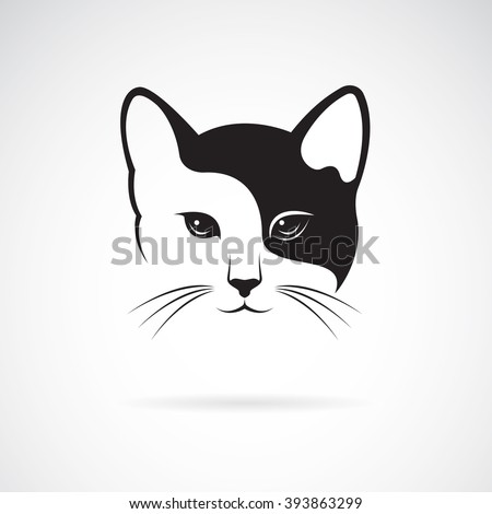 Vector image of an cat face design on white background, Vector cat head for your design, - stock vector